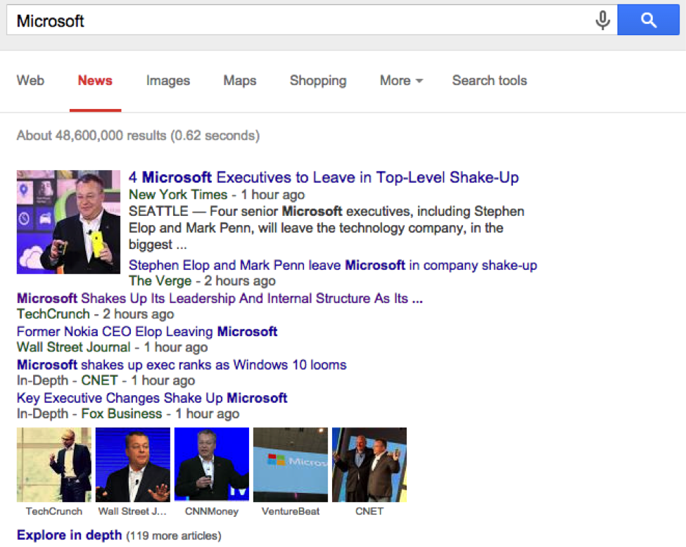 General Search for 'Microsoft'