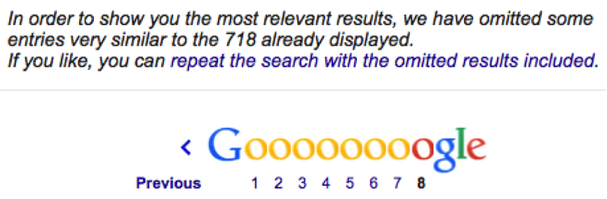 Google results - repeat search with omitted results
