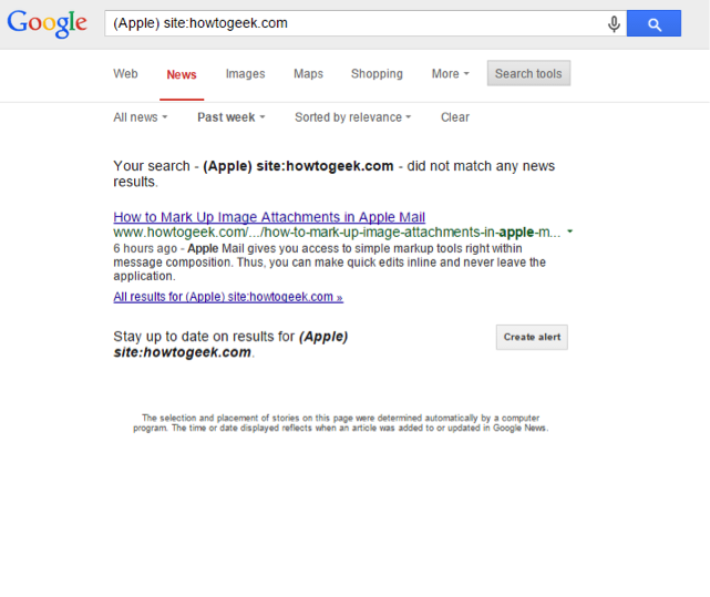 Google Web Search - site specific search in Google News