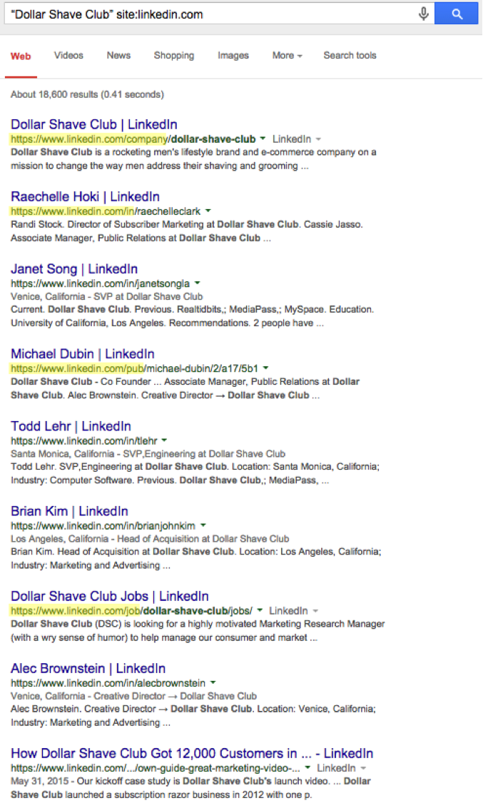 Linkedin results from Google